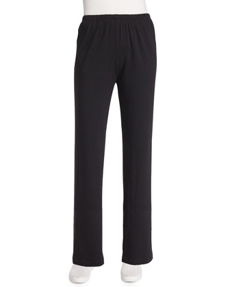 Straight-Leg Pants, Black, Petite