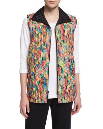 Rain or Shine Mosaic-Print Vest, Plus Size