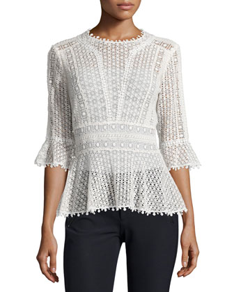 Guipure-Lace Peplum Top, Snow