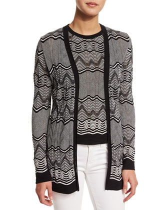 Frequency Zigzag Open-Front Cardigan