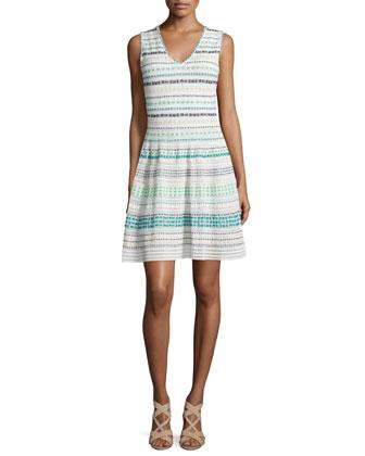 Sleeveless V-Neck Striped Dress