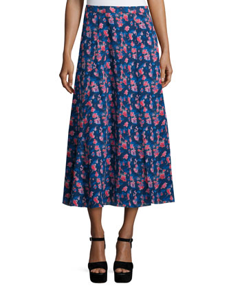 Sarah Jacquard Pullover Sweater & Wixson Floral Silk Midi Skirt