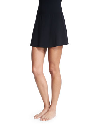 Basic A-Line Swim Skirt, Black