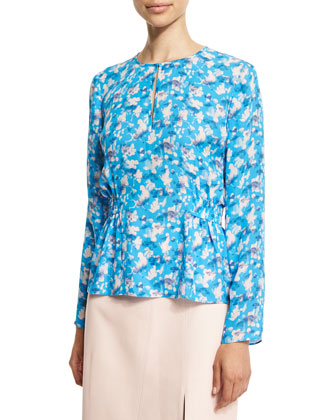 Heather Floral Silk Top, Cornflower
