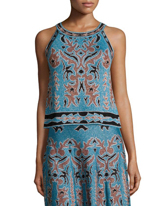 Metallic Embroidered Jacquard Sleeveless Top