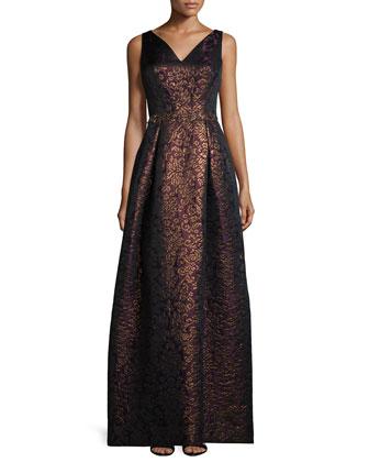 Sleeveless V-Neck Metallic Jacquard Gown
