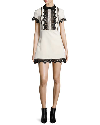 Ariana Lace-Trim Mini Dress, Cream/Black
