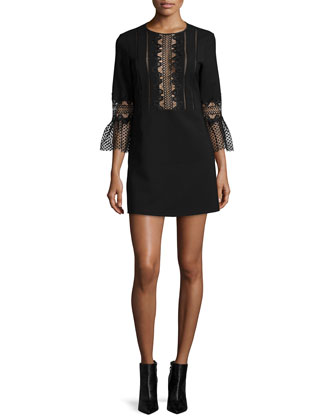 3/4-Sleeve Ponte Lace-Trim Shift Dress, Black