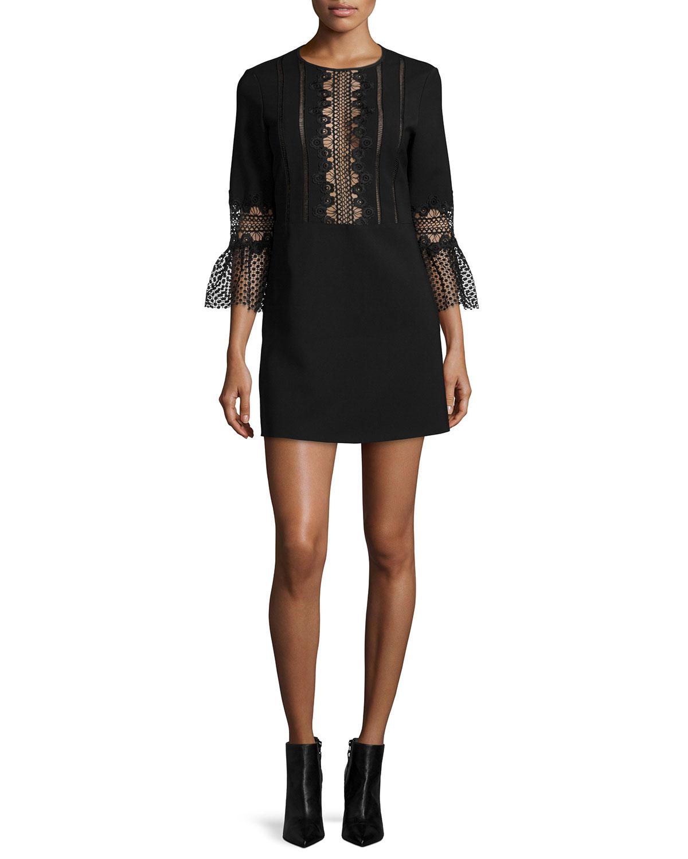 3/4-Sleeve Ponte Lace-Trim Shift Dress, Black, Women's, Size: 0 - Self Portrait