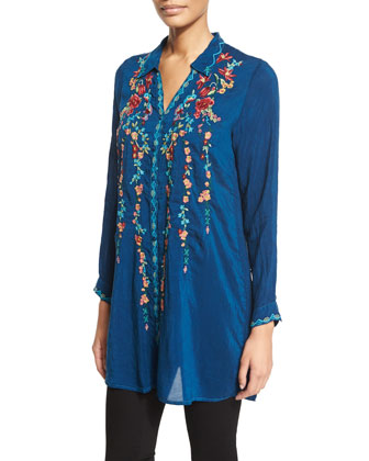 Ivy Embroidered Long-Sleeve Tunic, Petite
