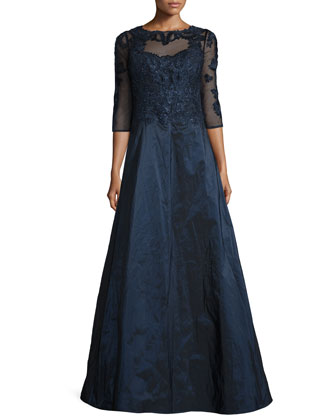 3/4-Sleeve Embroidered Lace & Taffeta Gown