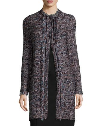Long-Sleeve Crochet Jacket W/Fringe, Black