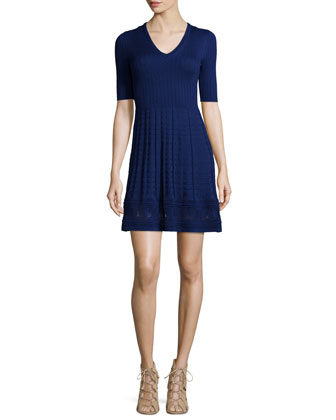 Half-Sleeve Fit-&-Flare Dress