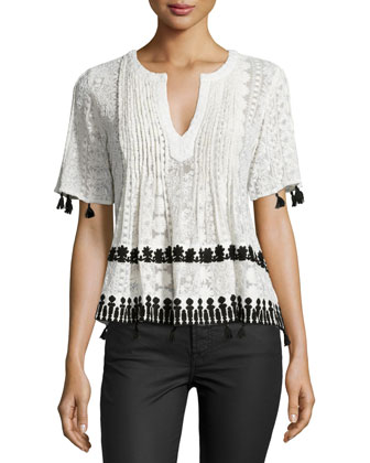 Chikkan Short-Sleeve Embroidered Top, Black/White