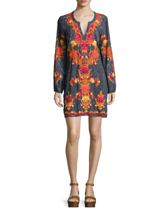 Long-Sleeve Split-Neck Mini Dress, Shawl Print