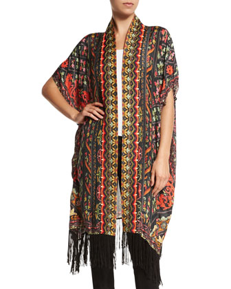 Floral-Print Poncho Cardigan W/Fringe, Multi Colors