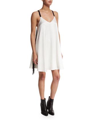 Crepe Cami Dress W/Fringe