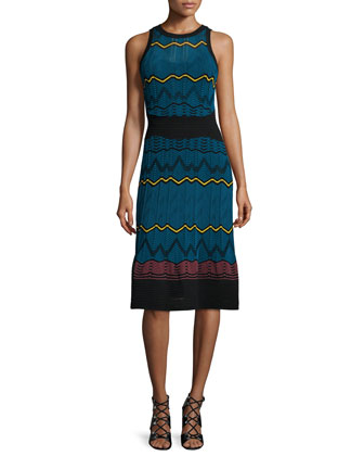 Frequency Zigzag Sleeveless Dress