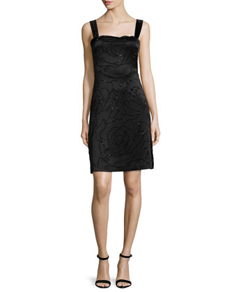 Lovelle Floral-Embroidered Sheath Dress, Black