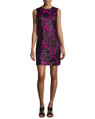 Sleeveless Floral Shift Dress, Black/Hot Orchid