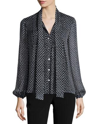 Marjorie Dotted Batik Silk Top, Black