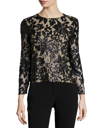 Belle Sequined Floral Top, Black/Nude