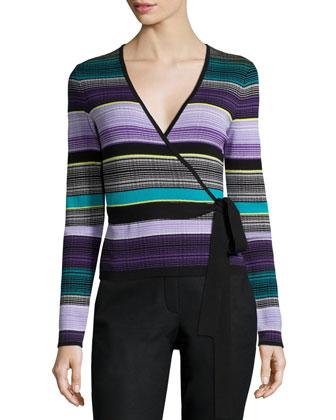 Striped Silk-Blend Ballerina Sweater, Lavender