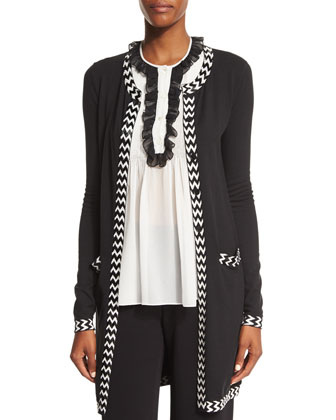 Carmela Embroidered Silk-Blend Cardigan, Black