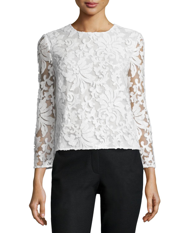 Belle Sequined Floral Top, White, Women's, Size: 12 - Diane von Furstenberg