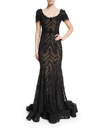 Embroidered-Ribbon Lace Gown, Black