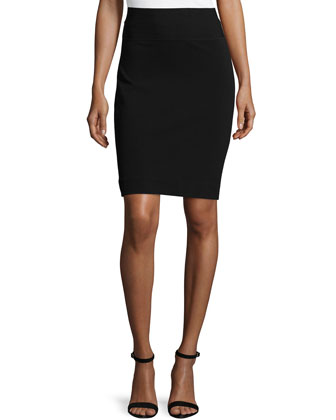 Elsa Woven Pencil Skirt, Black