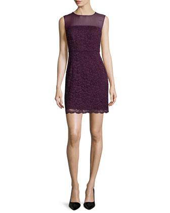 Nisha Sleeveless Lace Dress, Purple