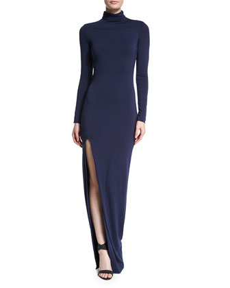 Lana Turtleneck Fitted Dress, Navy