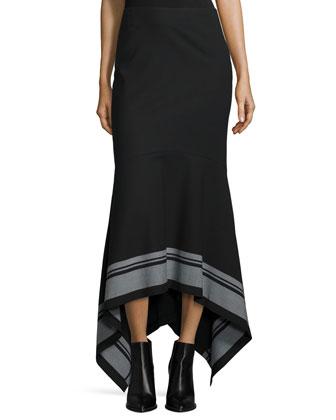 Ellie Striped-Hem Skirt, Black