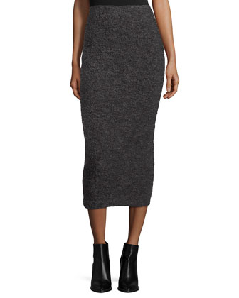 Kirk Funnel-Neck Sweater & Eliza Fitted Midi Skirt
