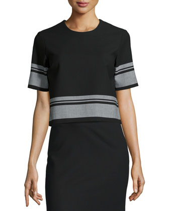 Gwen Short-Sleeve Striped Top & Ellie Striped-Hem Skirt