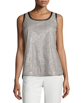 Roya Sleeveless Shimmer Blouse