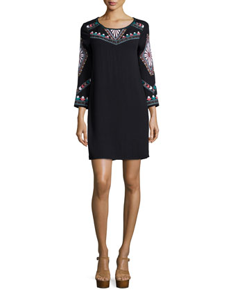 Embroidered Long-Sleeve Shift Dress, Black