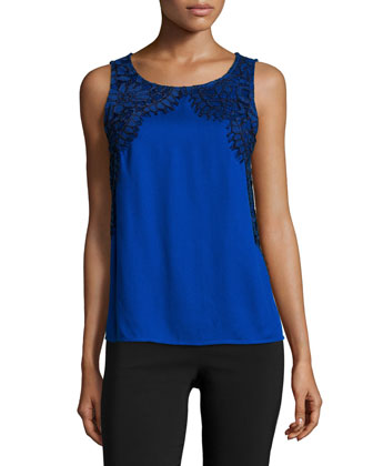 Sleeveless Lace-Applique Top, Sapphire