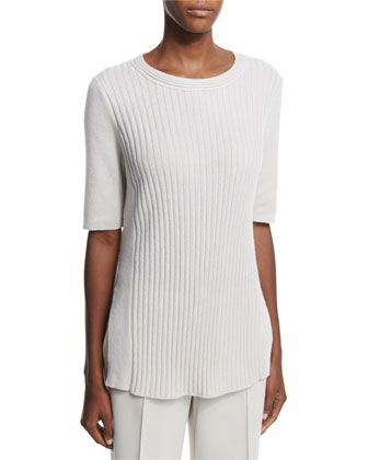 Half-Sleeve Ribbed Cashmere Sweater