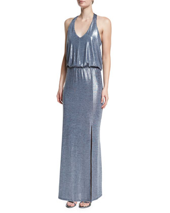 Sleeveless Metallic T-Back Maxi Dress, Gray