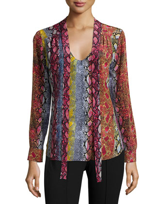Long-Sleeve Snake-Print Blouse, Raspberry