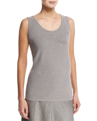 Sequined Ribbed Cashmere Shell