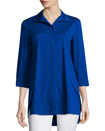Marla Triangle-Seam Blouse, Cobalt