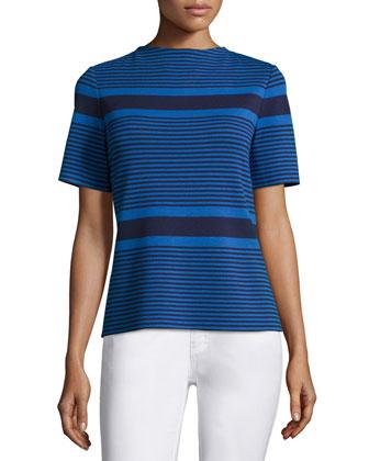 Block-Striped Short-Sleeve Top