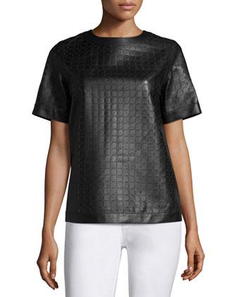 Raylan Short-Sleeve Leather Blouse