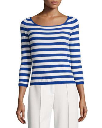Striped 3/4-Sleeve Pullover Top