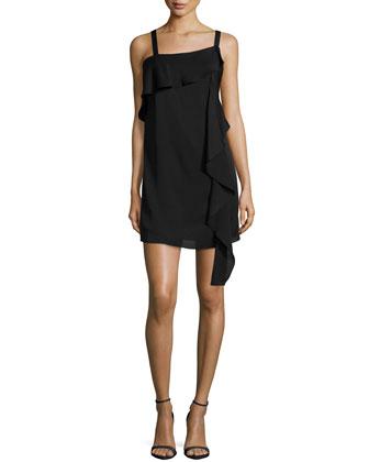 Maya Sleeveless Shift Dress W/ Ruffles