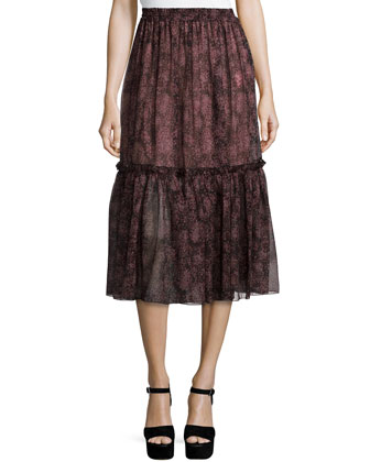 Tiered Peasant Midi Skirt, Bordeaux