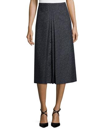 Inverted-Pleat A-Line Skirt, Black/Banker